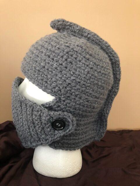 Crocheted knit helmet hat