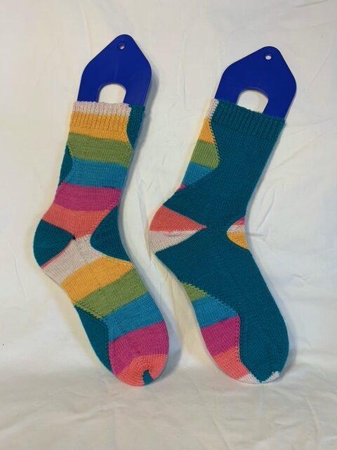 Hand-knit stripey socks