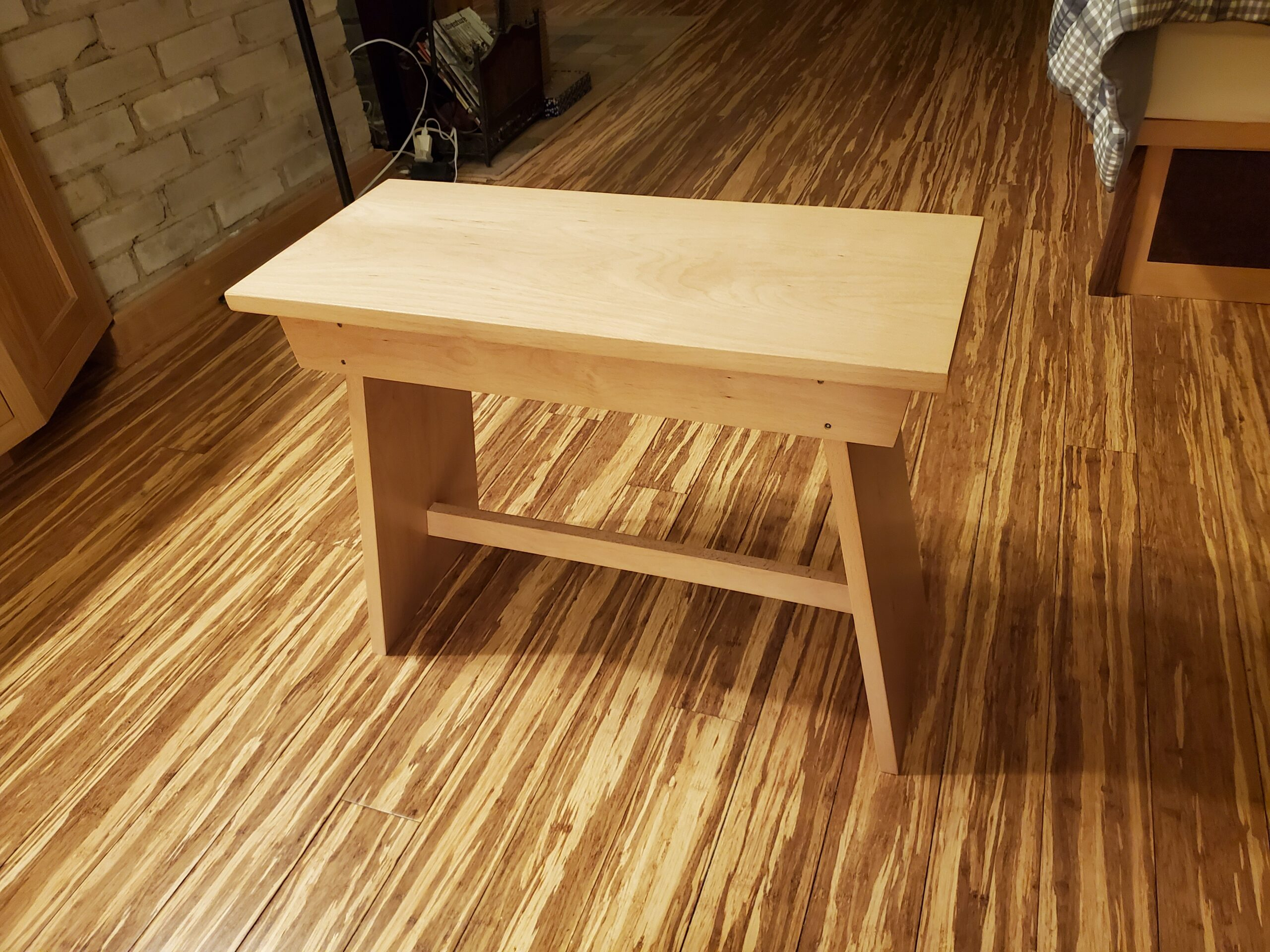 Hand-crafted Beech wood bench